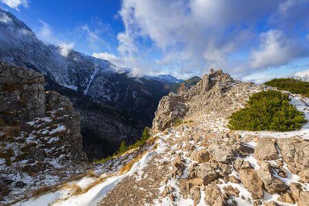 Sarnia Skala peak in Tatra mountains at winter, Poland