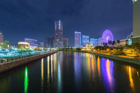 Yokohama, Japan - November 6, 2016 : Architecture of Yokohama cityat night, Japan. Yokohama is the second largest city in Japan by population and most populous municipality.
