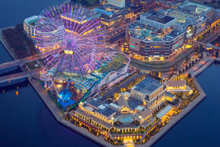 Yokohama, Japan - November 8, 2016 : Aerial view of of Minato Mirai 21 district in Yokohama at night, Japan. Yokohama is the second largest city in Japan by population and most populous municipality.