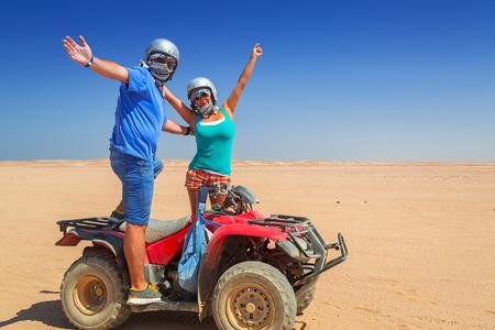 Quad trip on african desert of Egypt Stock Photo