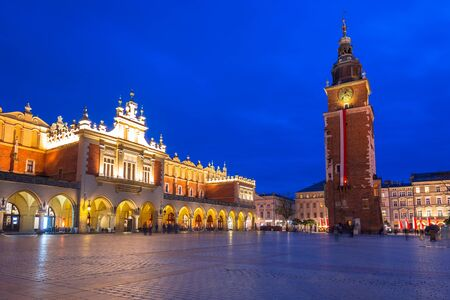 The Krakow Cloth Hall on the Main Square at night, Poland