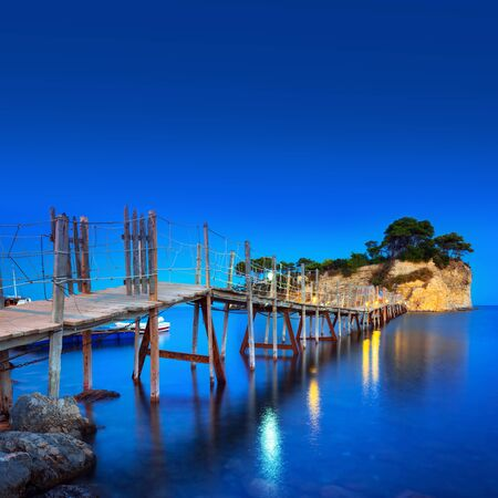Hanging bridge to the island at Zakhynthos,Greece