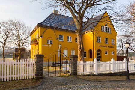 Alesund, Norway - April 13, 2018: Architecture of Alesund museum in the town center, Norway. Alesund is a popular tourist destination in Norway Editorial