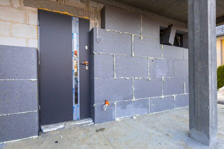 Graphite foam isolation on the new house under construction