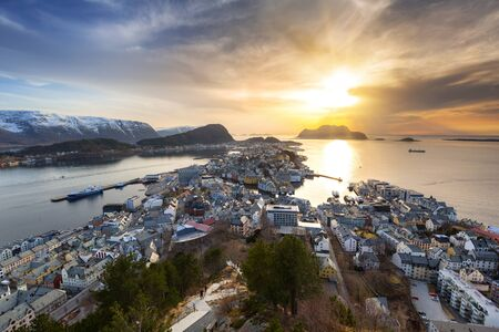 Beautiful Alesund town in Norway at sunset