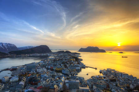 Cityscape of Alesund town at sunset, Norway