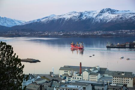 Coastline of Alesund with snowy mountains at dawn, Norway