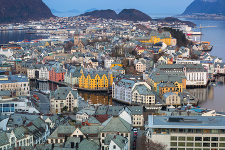 Beautiful Alesund town in Norway at dawn Editorial