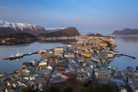 Beautiful Alesund town in Norway at dawn Stock Photo