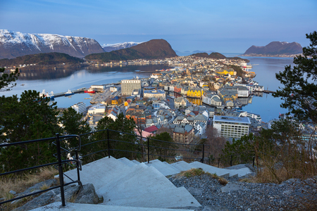 View point for Alesund town in Norway at dawn Stock Photo