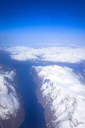Aerial view of snowy Norway from the plane