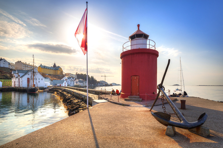 Lighthouse of Alesund town in sunny day, Norway