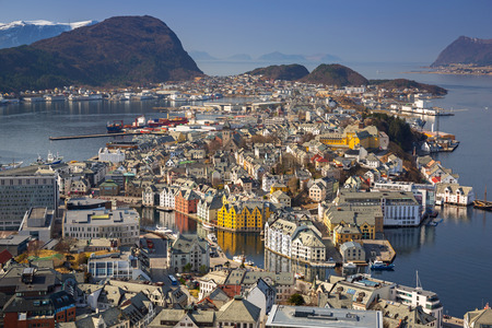 Beautiful Alesund town in sunny day, Norway