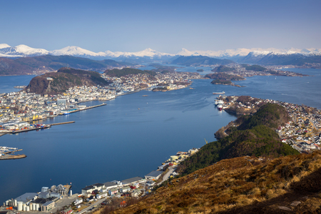 Beautiful scenery of west Norway coastline from the Sukkertoppen hill (Sugar Loaf Top)