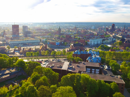 Aerial view of the oldtown in Gdansk, Poland Stock Photo