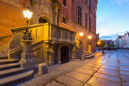 Architecture of the city hall in Gdansk at dawn, Poland Stock Photo