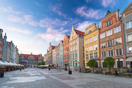Architecture of the old town in Gdansk at sunrise, Poland.