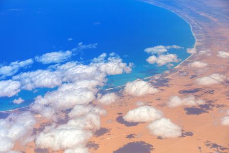 Aerial view of Mediterranean sea coastline, Egypt