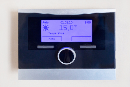 Control panel of central heating with temperature Stock Photo