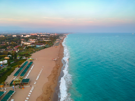 Aerial view of tropical beach on Turkish Riviera near Side Stock Photo