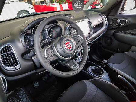 Gdansk, Poland - July 18, 2018: Interior of Fiat 500 X car in the Fiat showroom of Gdansk, Poland. Fiat 500 X is european crossover car manufactured in Italy.