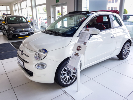 Gdansk, Poland - July 18, 2018: Fiat 500 car in the Fiat showroom of Gdansk, Poland. Fiat 500 is small european car manufactured in Italy. Editorial
