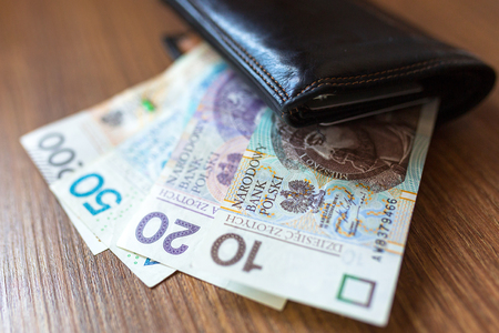 Wallet with polish zloty banknotes