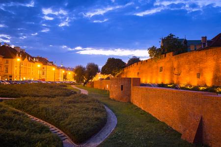 The barbican of Warsaw, ancient city walls, Poland