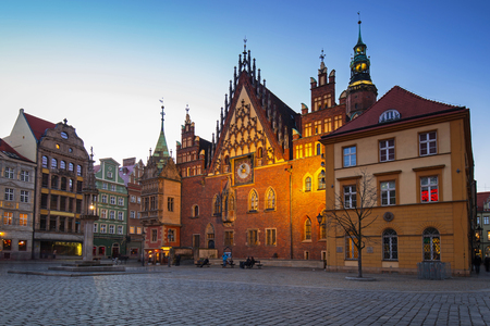 Market Square with old town hall in Wroclaw at dusk, Poland. Stock Photo