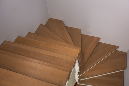 Staircase interior with new wooden steps