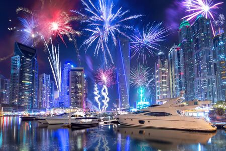 New Year fireworks display in Dubai marina, UAE 免版税图像
