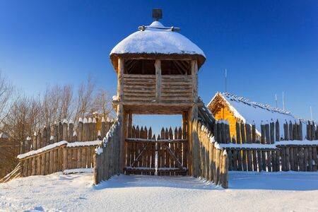 Snowy winter at medieval settlement village in Pruszcz Gdanski, Poland Reklamní fotografie