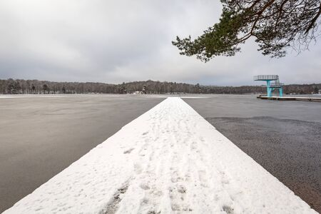Winter scenery at the lake in Olofstrom, Sweden