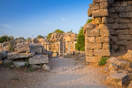 Ruins of Nymphaion, the ancient aqueduct of Side, Turkey