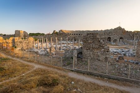 Ruins of the ancient theatre in Side, Turkey