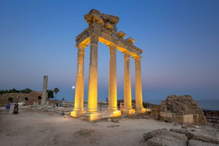 The Temple of Apollo in Side at dusk, Turkey Foto de archivo