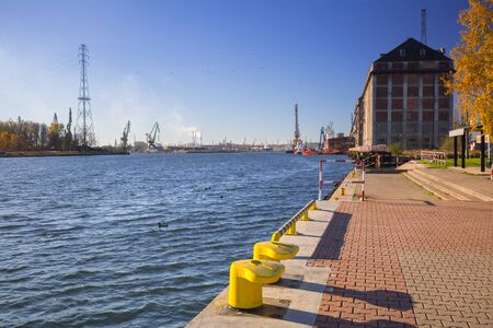 Promenade at the river in Nowy Port district of Gdansk, Poland 스톡 콘텐츠