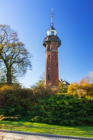 Baltic sea lighthouse in Nowy Port district of Gdansk, Poland