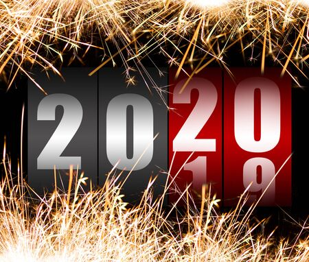 Number 2020 on the counter with sparkles. Happy new year concept.