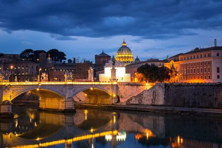 Saint Peter Basilica in Vatican city with Saint Angelo Bridge in Rome, Italy