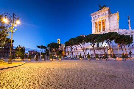 Architecture of the National Monument in Rome at night, Italy Фото со стока - 134846569