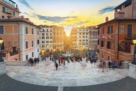 The Spanish steps in Rome at sunset, Italy