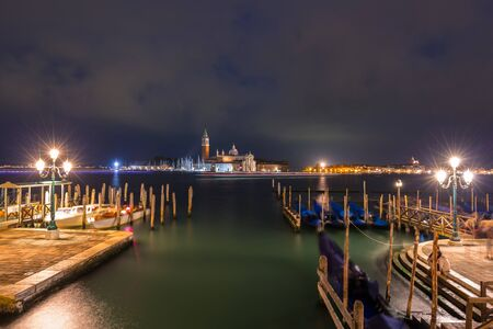 San Giorgio Maggiore Church on the island of Venice at night, Italy