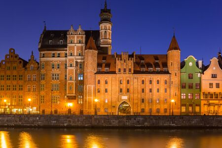 Architecture of the old town of Gdansk at Motlawa river, Poland