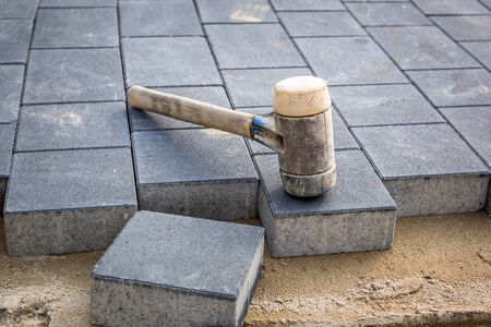 Concrete paver blocks laid with rubber hammer