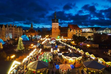 Illuminatedl Christmas fair in the old town of Gdansk, Poland
