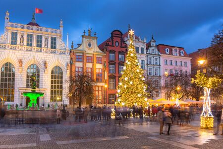 Long Lane in Gdansk with beautiful christmas tree at dusk, Poland