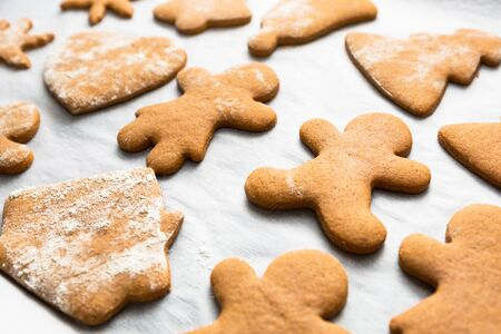 Making gingerbread cookies for Christmas in the oven
