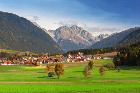 Idyllic scenery of Rasun di Sotto town in South Tyrol at autumn. Italy Archivio Fotografico