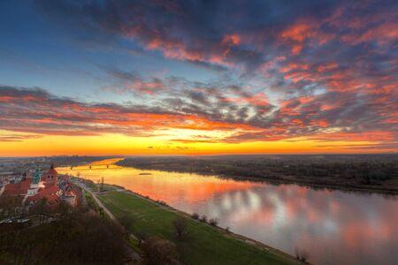 Amazing sunset over Grudziadz city and the Vistula River, Poland.
